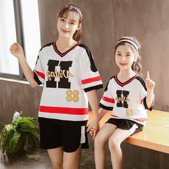 PAM - Family Matching Set: Elbow-Sleeve Printed T-Shirt + Sweatshorts
