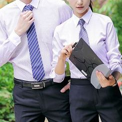 COOLIN - Couple Matching Striped Dress Shirt / Plain Dress Pants