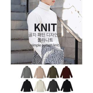 STYLEMAN - Rib-Knit Turtleneck Sweater