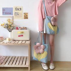 TangTangBags - 花朵貼布繡帆布斜挎包 / 購物袋
