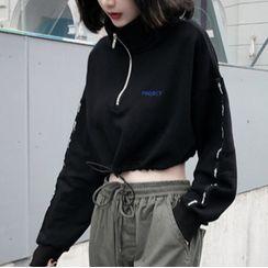 Sofame - Half-Zip Cropped Sweatshirt