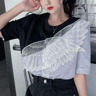 Fabricino - Feather Embroidered Short-Sleeve T-Shirt