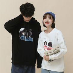 ATee Store - 情侣卡通印花连帽衫 / 套衫
