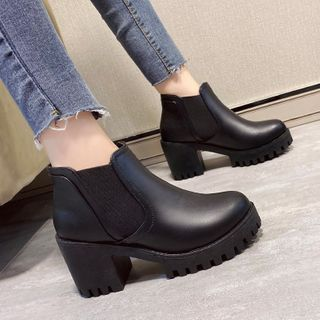 Anjay - Plain Platform Chunky Heel Ankle Boots