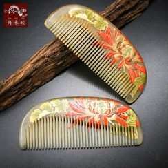 Woodiland - Floral Print Horn Hair Comb