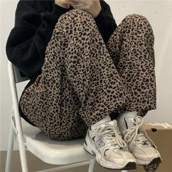 Shineon Studio - 豹纹印花宽腿裤