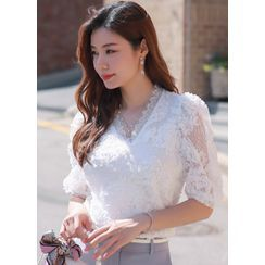 Styleonme - Faux-Pearl Button Lace Blouse