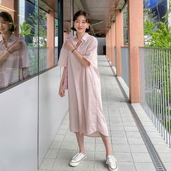 MERONGSHOP - Elbow-Sleeve Pastel-Color Long Shirtdress