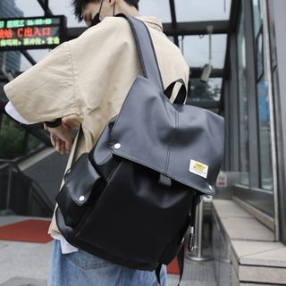 ETY - Square Faux-Leather  Backpack