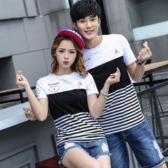 Igsoo - Couple Matching Short-Sleeve Striped T-Shirt
