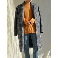 STYLEMAN - Glen-Plaid Boxy Coat
