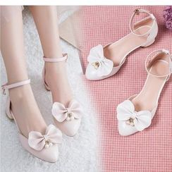 Freesia(フリージア) - Bow Accent Block Heel Ankle Strap Sandals