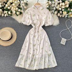 Lucuna - Mandarin Collar Floral Embroidered Midi A-Line Dress