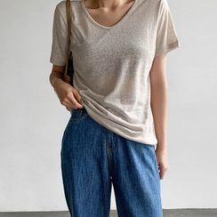 MERONGSHOP - V-Neck Linen Blend T-Shirt