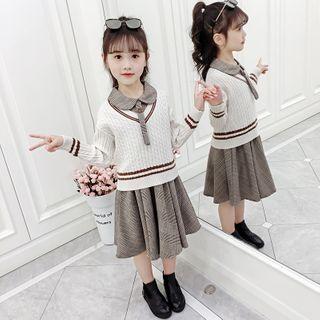 Qin Qin - 套装: 小童麻花针织毛衣 + 无袖格子A字连衣裙