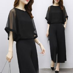Sugardance - Set: Elbow-Sleeve Mesh Blouse + Wide Leg Pants