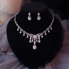 Neostar(ネオスター) - Wedding Set: Rhinestone Drop Necklace + Dangle Earring