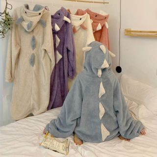 Guajillo - Dinosaur Coral Fleece Hoodie Pajama Dress