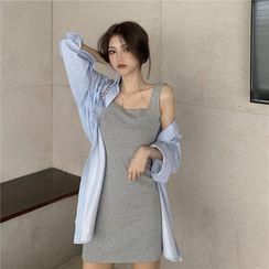 Flowerisque(フラワーリジーク) - Plain Mini A-Line Tank Dress / Striped Shirt