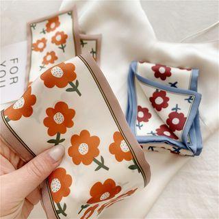 FEY TIY - Floral Print Satin Narrow Scarf