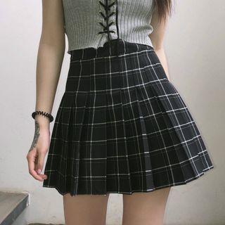 LINSI - Plaid Pleated A-Line Mini Skirt