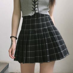 LINSI - Plaid Pleated A-Line Mini Skirt