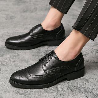 WeWolf - 仿皮系带翼纹牛津鞋