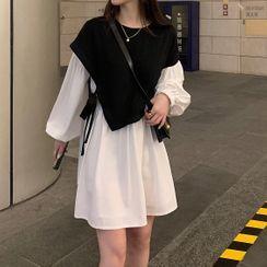 Grendi(グレンディ) - Mock Two-Piece Short-Sleeve A-Line Dress