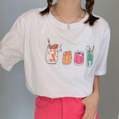 Cloud Nine - Drinks Print Short-Sleeve T-Shirt
