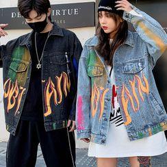 Kokuko - Couple Matching Graffiti Denim Jacket