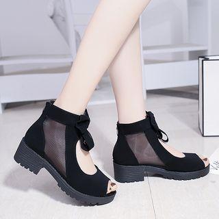 Mowin - Mesh Panel Peep-Toe Sandals