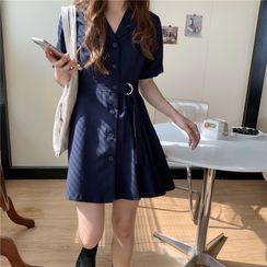 Guajillo - Short-Sleeve Single Breasted Tie Waist Coat Dress