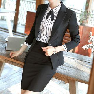 Princess Min - 迷你鉛筆裙 / 條紋長袖襯衫 / 修身西裝外套 / 西褲 / 套裝