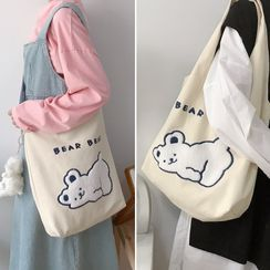 TangTangBags - Bear Embroidered Crossbody Bag / Tote Bag