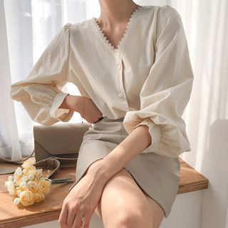 MERONGSHOP - Balloon-Sleeve Lace-Trim Blouse