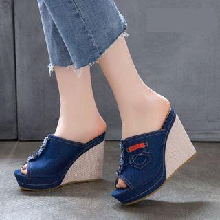 Cinnabelle - Peep-Toe Wedge-Heel Denim Slide Sandals