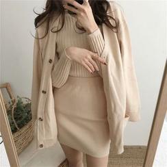 Moon City - 套装: 高领毛衣 + 口袋长款开衫 + 针织裙