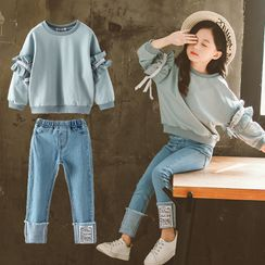 PAM - Kids Set: Ruffled Pullover + Skinny Jeans