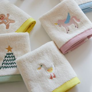 Sharemily - Embroidered Face Towel / Bath Towel