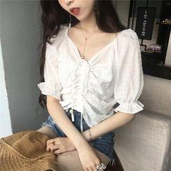 Shinsei - 抽繩短袖雪紡襯衫