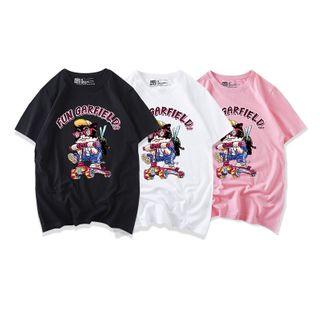 JECKO - Short-Sleeve Cat Print T-Shirt