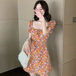 Aetherial - Short-Sleeve Floral Print Mini A-Line Dress