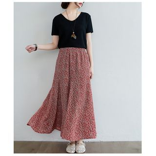 Termane - Maxi Floral A-Line Skirt