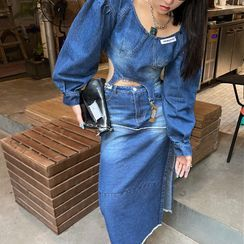 UNISTU - Long-Sleeve Square-Neck Denim Top / Denim High-Waist Skirt