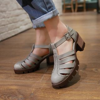 天姿 - 粗跟罗马凉鞋