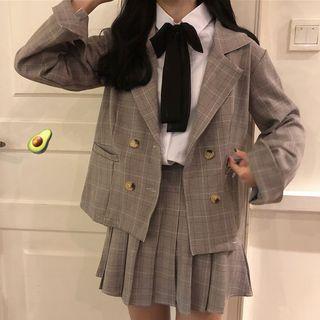 CaraMelody - 饰蝴蝶结长袖衬衫 / 格子西装外套 / 格子迷你百褶裙 / 套装