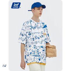 Newin - 趣味图案印花宽松T恤