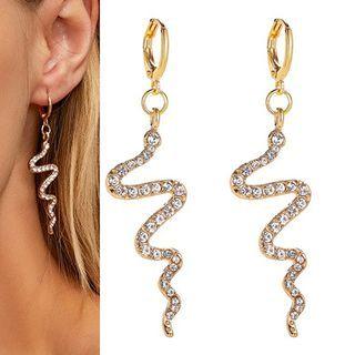 Mulyork - Rhinestone Snake Drop Earring