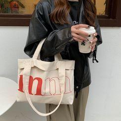 TangTangBags(タンタンバッグズ) - Lettering Print Canvas Tote Bag