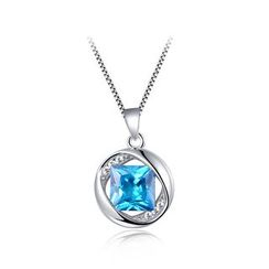 BELEC(ベレック) - 925 Sterling Silver March Birthday Stone Pendant with Blue Cubic Zircon and Necklace